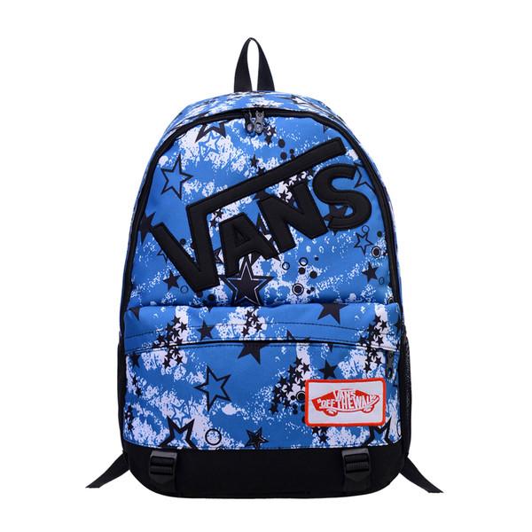 Городской рюкзак Vans голубой со звездами (реплика)