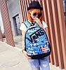 Городской рюкзак Vans голубой со звездами (реплика), фото 2