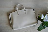 Бежевая кожаная сумка Италия Virginia Conti