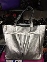 Женская сумка из натуральной кожи серебряная