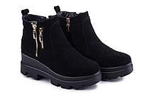 Ботинки женские из натуральной замши черного цвета