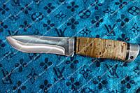 Нож для охоты ,рукоять из бересты+кожаный чехол