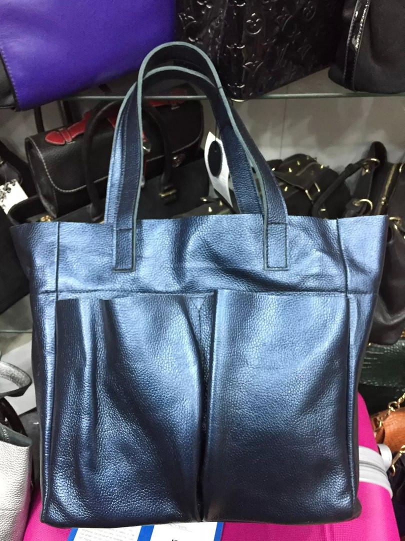 Женская сумка из натуральной кожи  синяя