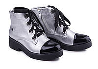 Ботинки женские из натуральной кожи серебряного цвета