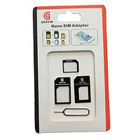 Адаптеры для SIM карт GRIFIN, 3 в 1 + скрепка