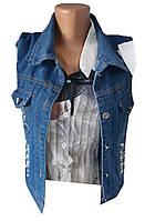 Джинсовая жилетка женская 1416 бусинки с карманами (лето)