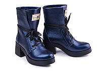 Ботинки женские из натуральной кожи синего цвета