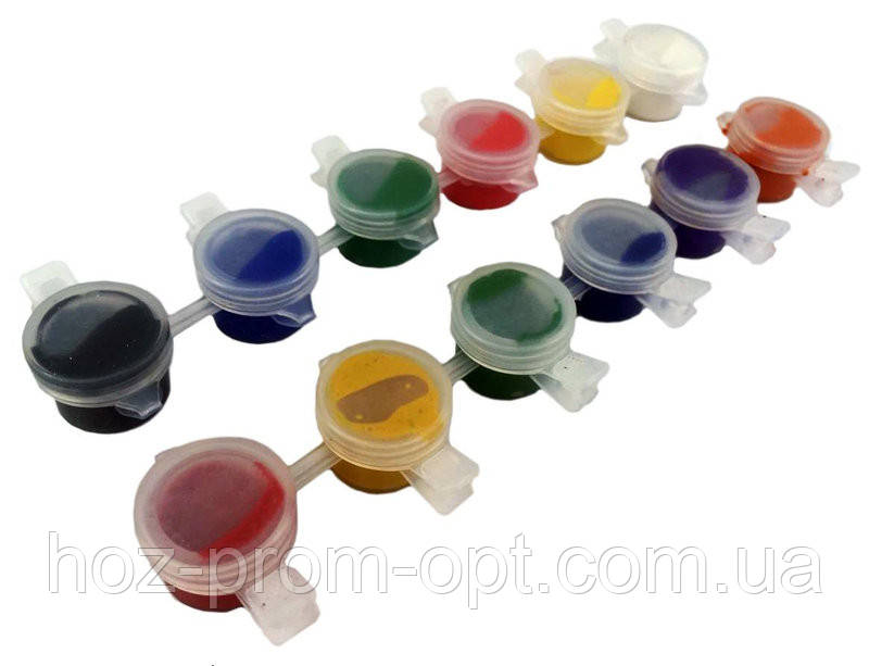 Фарби гуашеві (6 кольорів/2ml) без упаковки, фарби гуаш для малювання.