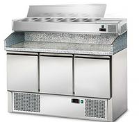 Стол холодильный для пиццы GGM POS147#AGS143E с витриной под крышкой