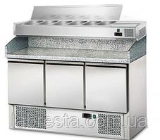 Стол холодильный для пиццы GGM POG147#AGS143EN с витриной под крышкой