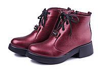 Ботинки женские из натуральной кожи бордового цвета