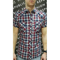 Рубашка мужская клетчатая короткий рукав FR 175949