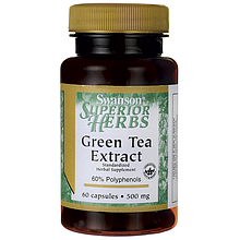Экстракт зеленого чая SWANSON, 500 мг, 60 капсул.