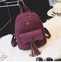 Рюкзак женский матовый с кисточками и карманом (бордовый)