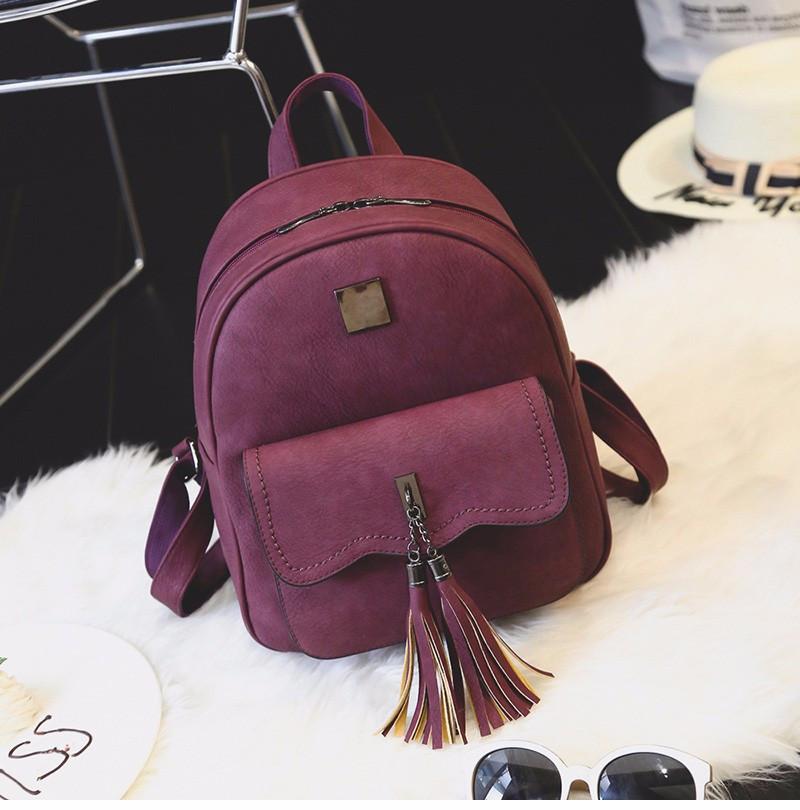 18c73469228e Рюкзак женский матовый с кисточками и карманом (бордовый) -  Интернет-магазин «VINGO