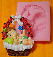 """Молд силиконовый """"Младенец в корзинке"""" 7,5 см 8 см"""