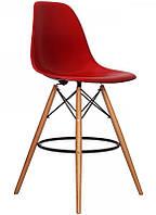 Стул барный Тауэр Вуд красный на деревянных ножках, 53*57*108.5 см