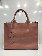 Женская кожаная сумка цвет пудра