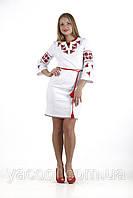 Очаровательное народное платье в классическом стиле лен стрейч Роза