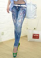 Женские джинсы голубые рваные итальянские Dsquared