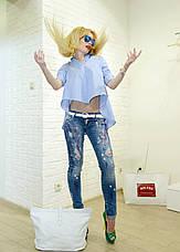 Женские джинсы голубые рваные итальянские Dsquared, фото 3