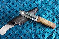 """Нож охотничий""""Отважный"""" ,рукоять из береста ,кожаный чехол"""