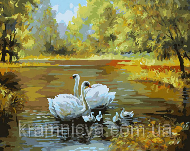 "Картина по номерам ""Семейство лебедей"", худ. Вебер Макс, G312, 40х50см."