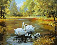 "Картина по номерам ""Семейство лебедей"", худ. Вебер Макс, G312, 40х50см., фото 1"