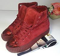 Женские кроссовки кеды слипоны криперы мокасины ботинки - красные
