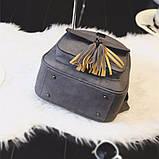 Рюкзак женский матовый с кисточками и карманом (серый), фото 5
