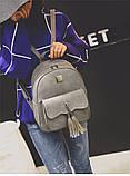 Рюкзак женский матовый с кисточками и карманом (серый), фото 2