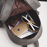 Рюкзак женский матовый с кисточками и карманом (серый), фото 8