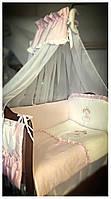 Комплект с балдахином в детскую кроватку Ангельский сон.