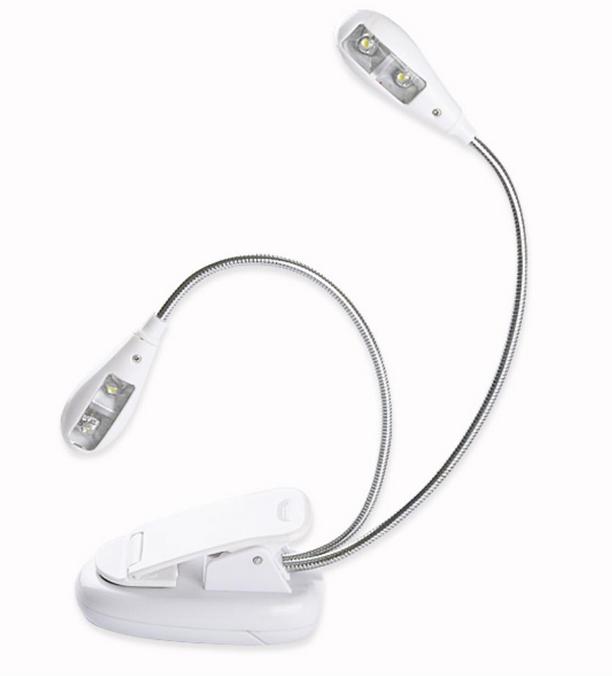 Лампу-світильник для читання на 4 LED з кліпсою біла