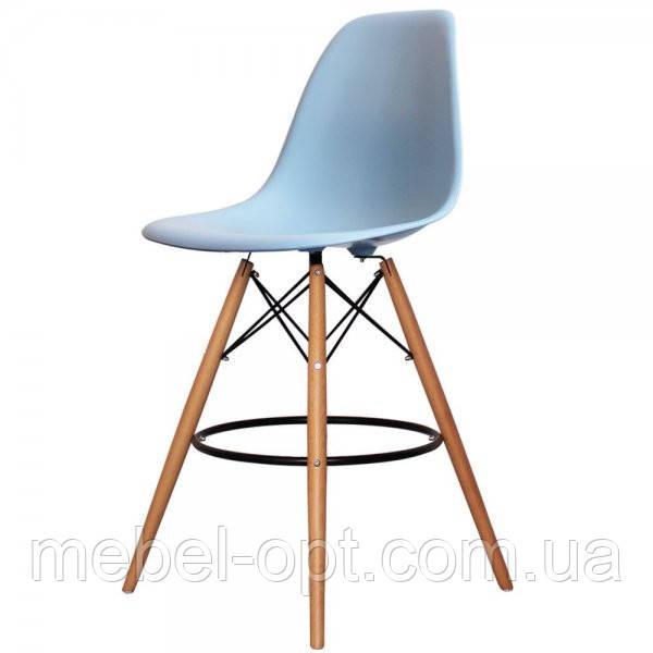 Стул барный Тауэр Вуд голубой на деревянных ножках, 53*57*108.5 см