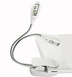 Лампу-світильник для читання на 4 LED з кліпсою біла, фото 2