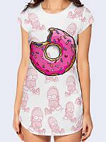 """Прикольная футболка-туника """"Пончик"""" для поклонниц Симпсонов с 3Д рисунком/принтом на лето."""
