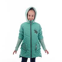 """Детская куртка демисезонная для девочки """"Адель"""", мята, 6-11 лет"""