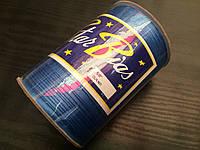 Косая бейка атласная, 15мм, цвет т-голубой /100м в бобине