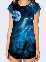 """Элегантная женская футболка-туника из приятного трикотажа """"Гроза""""  с красочным принтом, синего цвета."""