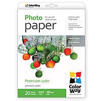 Бумага ColorWay сатин, микропористая, 260 г/м, 10х15, 20 л (PS2600204R)