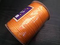 Косая бейка атласная, 15мм, цвет оранжевый /100м в бобине