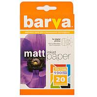 Фотобумага Barva, матовая, двусторонняя, A6 (10x15), 190 г/м2, 20 л (IP-B190-065)