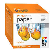 Фотобумага ColorWay глянцевая, 200 г/м2, A6 (10х15), 500 л, картонная упаковка (PG2005004R)