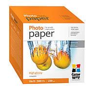 Фотобумага ColorWay глянцевая, 230 г/м2, A6 (10х15), 500 л, картонная упаковка (PG2305004R)
