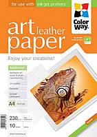 Фотобумага ColorWay глянцевая, с тесненной фактурой имитации кожи, 230 г/м2, A4, 10 л (PGA230010LA4)