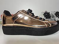 Кроссовки криперы слипоны кеды мокасины ботинки женские -золотые