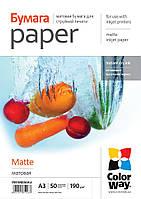 Фотобумага ColorWay матовая, 190 г/м2, А3+, 50 л (PM190050A3+)