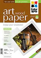 Фотобумага ColorWay матовая, с тесненной фактурой имитации дерева, 220 г/м2, A4, 10 л (PMA220010WA4)