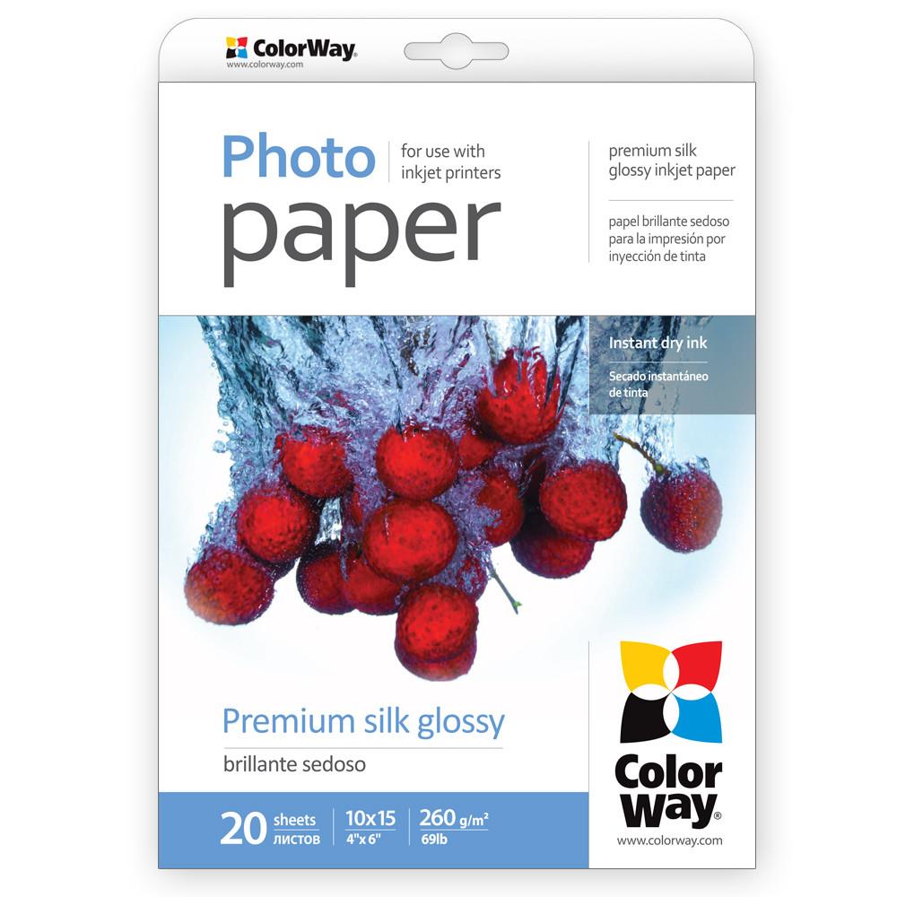 Фотобумага ColorWay шелковисто-глянцевая, эффект 'ткани', 260 г/м, 10х
